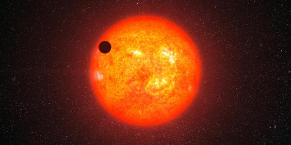 Artist impression of an exoplanet transiting its star