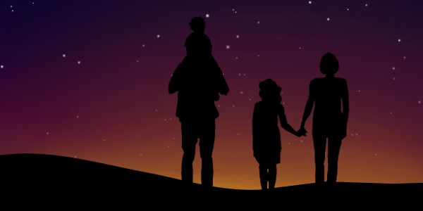 Artist silhouette of a family in front of an artist created night sky