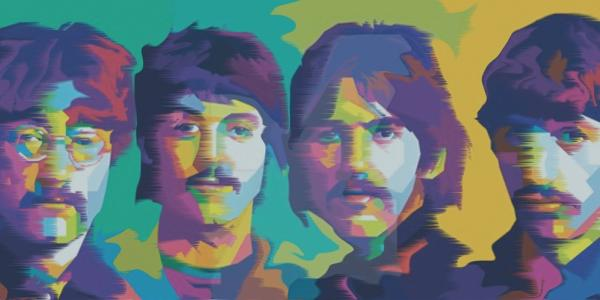 Artist painting of the Beatles