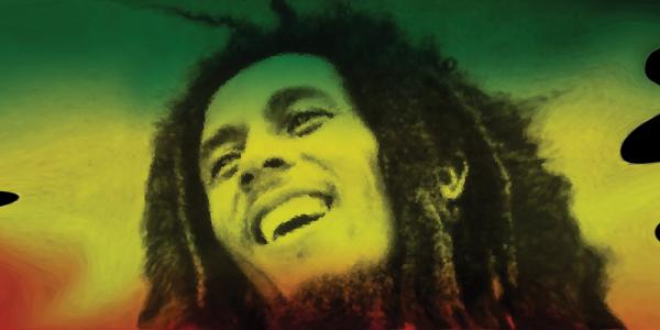 Photo of Bob Marley with flag