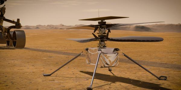 Artist illustration of new helicopter which is onboard the Mars Perseverance rover.