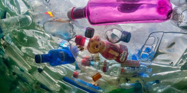 Photo of floating plastic pieces in ocean