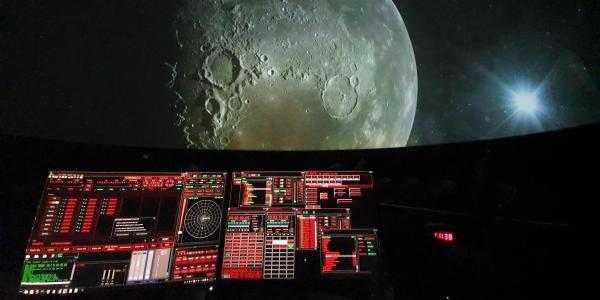 Console in Dome with Moon in View