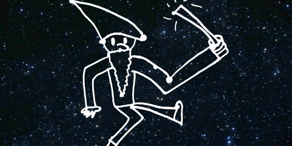 Screen capture from a DIY sky project - little wizard outline against a star-filled sky