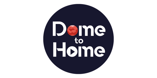 Dome to Home graphic with illustration of the Mars, a rocket, and a play button