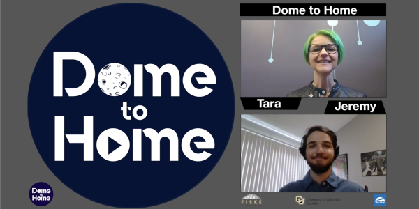 Dome to Home Logo and video capture with Tara presenting and Jeremy navigating