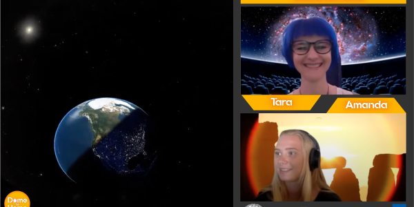 Screen capture of a Dome to Home virtual program with a presenter and navigator. Earth is in a square box to the left showing what would normally be displayed on our dome.