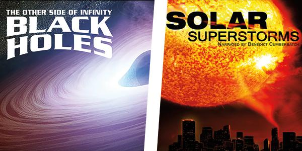 Still images from films of Black Holes and Solar Superstorms