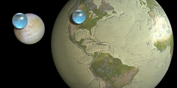 Artist illustration of Earth and Europa with a marble of water
