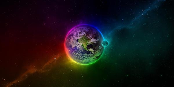 FiskEDM graphic Earth with rainbow