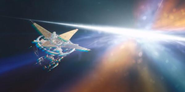 Artist illustration of a ship flying through a bright area of space.
