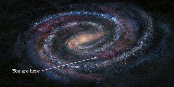 Artist illustration of our Milky Way Galaxy with a arrow pointing to where our solar system is located