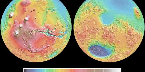 Scientific data of the two hemispheres of Mars showing geological differences in height