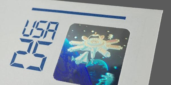 Envelope with vintage hologram space stamp