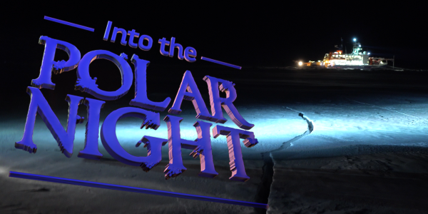Shows a ship in the arctic ice at night with title of film Into the Polar Night