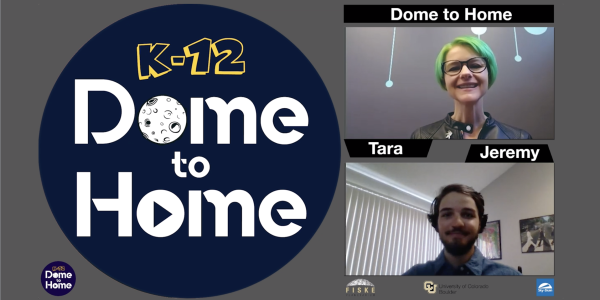 Dome to Home video capture with a presenter, navigator and square image of what would be displayed on the dome