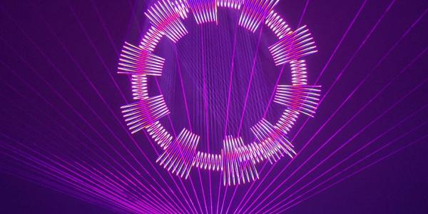 Laser Fantasy image purple lasers in a artistic circle