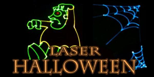 Laser Halloween with Frankenstein and spider webs