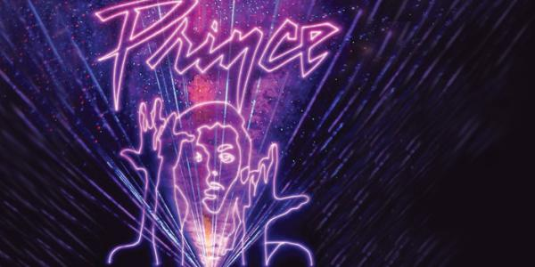 Laser Prince graphic in purple lasers