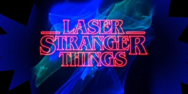 Stranger Things graphic with blue and green in background