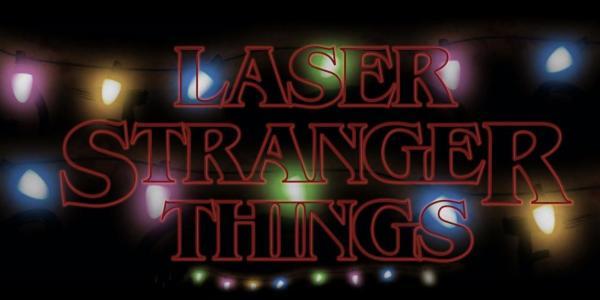 Stranger Things logo with xmas lights