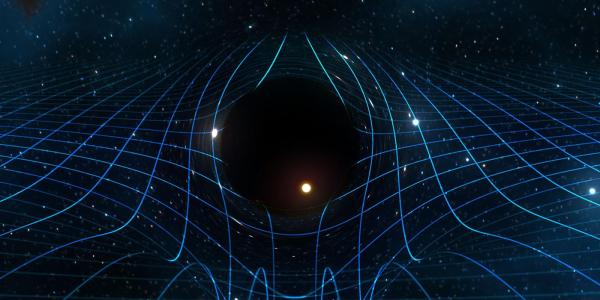 Artist drawing of a black hole with space time curved