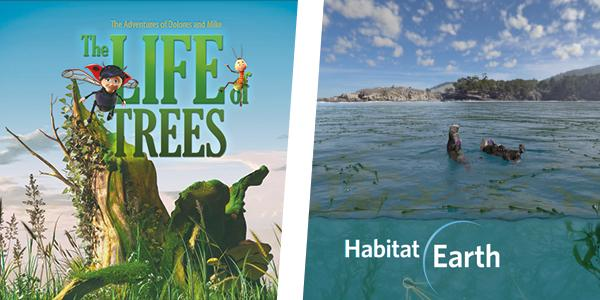 Still images from films of Life of Trees and Habitat Earth