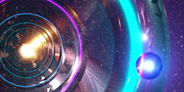 Liquid sky image with concentric different colored rings and orbs