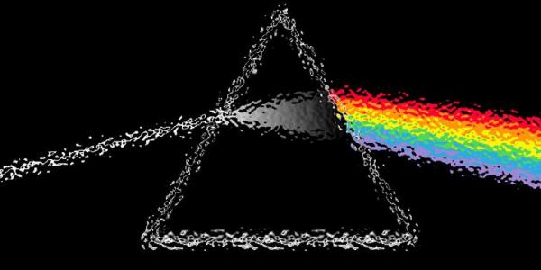 Pink Floyd logo with rainbow