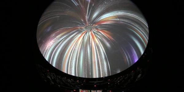 Interior of Fiske dome with fireworks