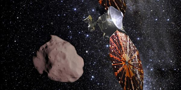 Artist illustration of the spacecraft with an asteroid and background starry sky