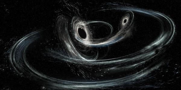 Artist illustration of merging blackholes