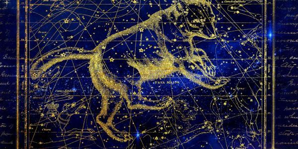 Artist illustration of ursa major constellation against a star filled sky.