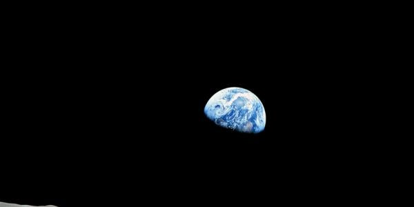 Photo of the Earth rising from Apollo 8 orbiting the Moon