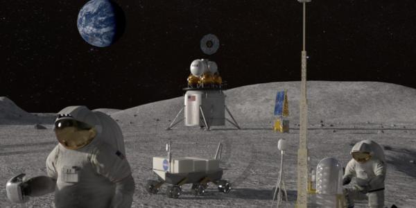 Artist illustration of a moonbase and astronauts working on the surface. Earth is visible in the sky.