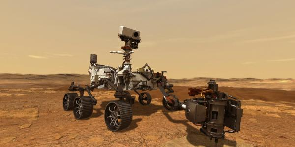 Artist illustration of Mars Curiosity rover on the surface of Mars
