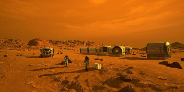 Artist illustration of human colon on Mars. Astronauts in view with habitats in the background.