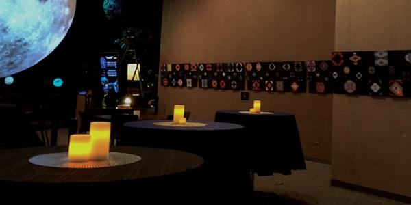 Interior of Fiske lobby by candle light