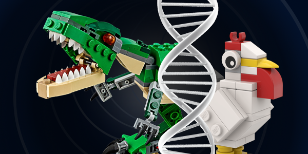 Title of talk with a lego figures of a dinosaur and a chicken plus image of DNA