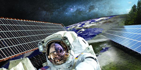 Image graphic for talk series - solar panels, astronaut, earth and night sky