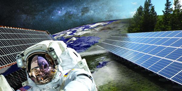 Science and society graphic with an astronaut, space, solar panels and a forest