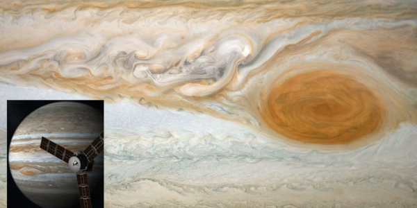 Photo of Jupiter's great red spot, inset photo of Jupiter with artist illustration of the Juno spacecraft