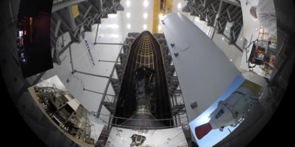 Still image from film of Parker Solar Probe in clean room