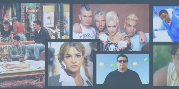 Photos from TV shows and bands in the 90s