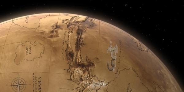 Artist illustration of Mars and mapping geography
