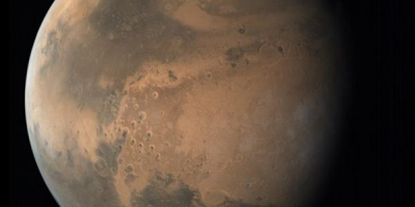 Photo of Mars showing darker regions and polar cap.
