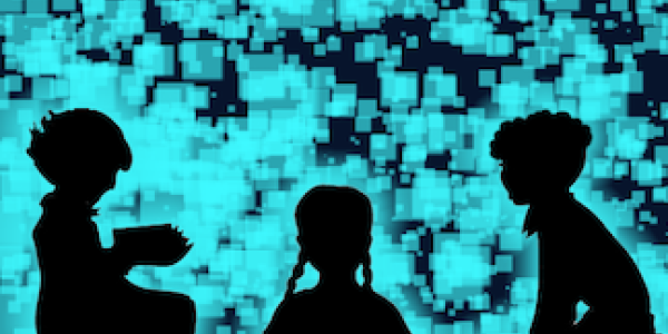 Silhouettes of three kids in front of a digitally created screen with square boxes
