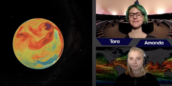 Color coded earth in a square box which shows what would be projected on the dome and a presenter and navigator to the right