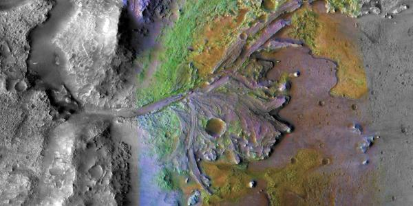 Image from orbit of Martian geography with river bed, craters, and mountain