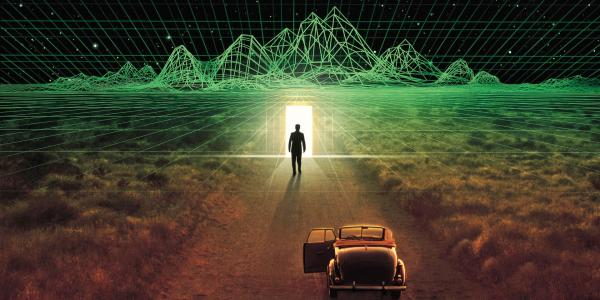 Welcome to the Second Digital Age. Man standing on horizon of technology graphic.